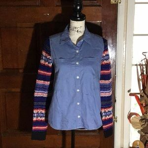 Pre-owned. Shirt with Contrasting Knit Sleeves